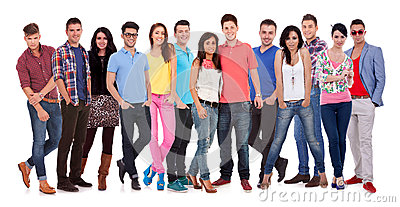 Group of casual happy people smiling