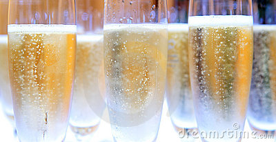 Group of Champagne glasses filled with bubbles