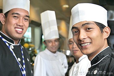 Group of chef smiling