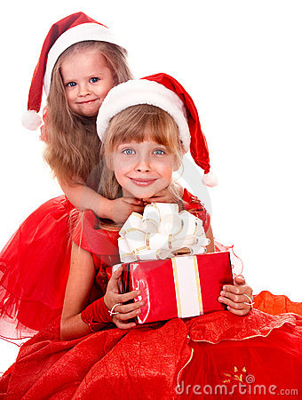 Group child in santa clause hat with red gift box.