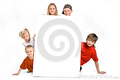 Group of children behind a blank sign