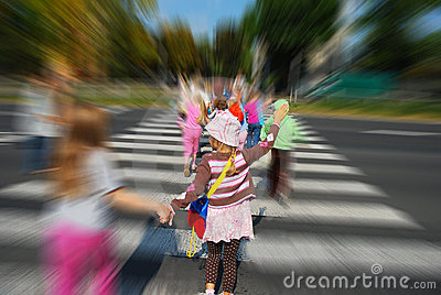Group of children crossing the street