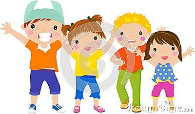 Group of children having fun