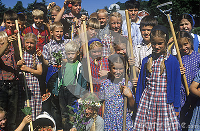 Group of children at Hutterian Brethren Church Editorial Photography