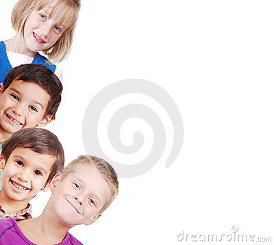 Group of children isolated, closeup, space for you