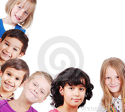 Group of children isolated, space for you