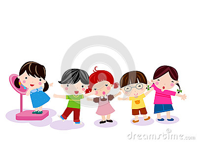 Group of children measuring weight