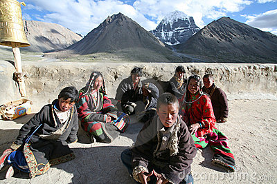 A group of children on a pilgrimage Editorial Stock Photo