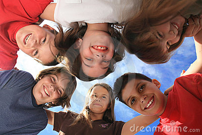Group of Children Playing Around Outdoors