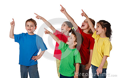 Group of children with pointing up sign