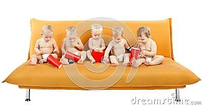 Children Group watch Cinema Popcorn, Kids on White