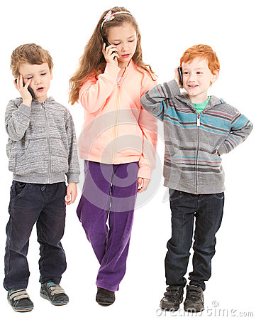 Group of children talking on mobile phones.
