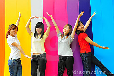Group of Chinese asian Girls having fun together