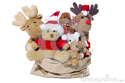 Group of christmas teddy bears or santa claus for teamwork, team