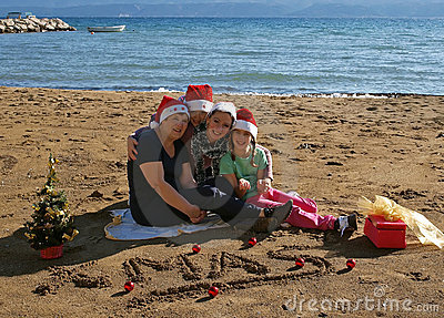 Group of Christmas woman at sand beach