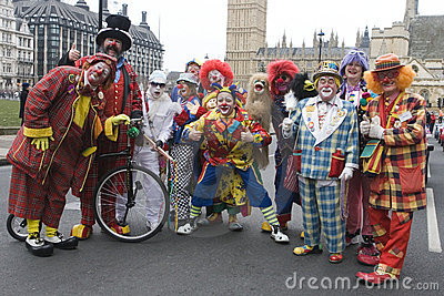 Group of Clowns at London Parade Editorial Image