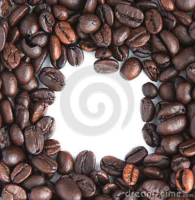 Group of coffee bean seed  with free space