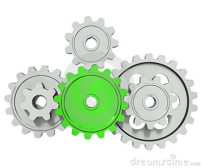 Group cog gears around green wheel
