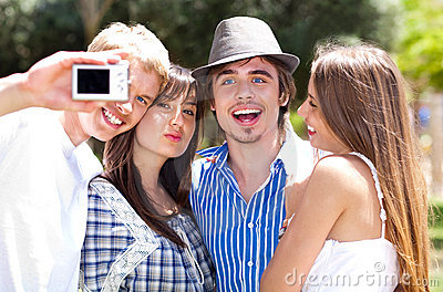 Group of College students taking a self portrait