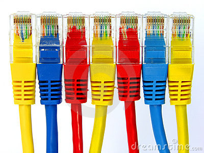 Group of color connectors rj45