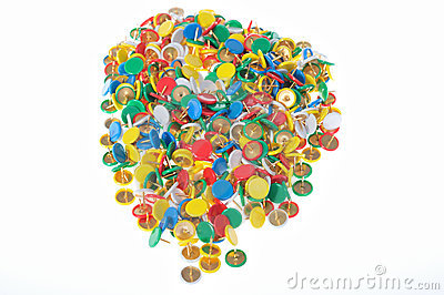 A group of color pins