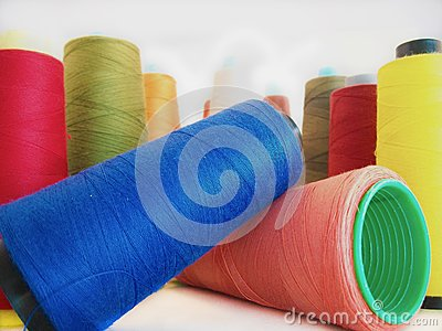 Group of colored sewing threads