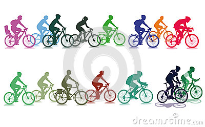 Group of colorful cyclists