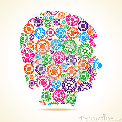 Group of colorful gears make a female face