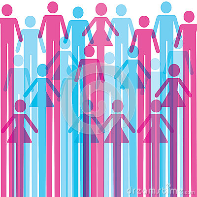 Group of colorful male and female icon background