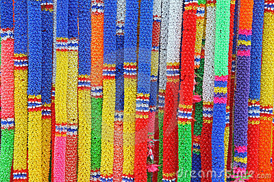 Group of Colorful Thai plastic garland