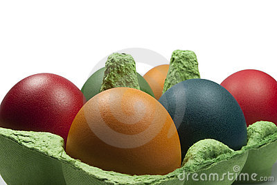 Group of Coloured Easter eggs in the Egg Carrier
