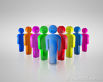 Group of coloured smiling people with social chat