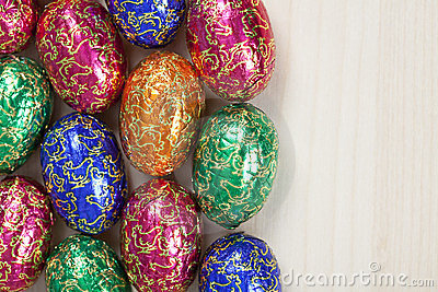 Group of colourful easter eggs