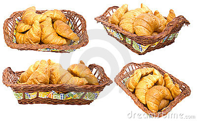 Group croissants in a basket. Collage