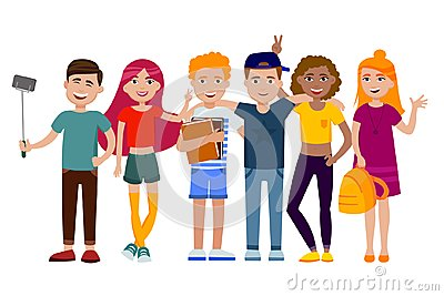 Group of cute happy teenagers having fun, standing together with gadgets, backpacks and books. School students. Set of Vector Illustration