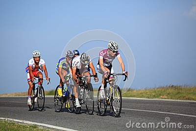 Group of cyclists climbing Cindrel Mountains Editorial Image