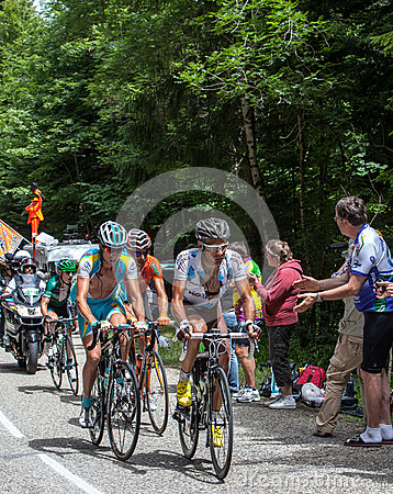 Group of Cyclists on Col du Granier Editorial Stock Photo