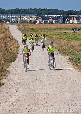 Group of cyclists in Northern Poland Editorial Stock Photo