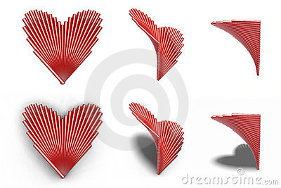 A group of cylinder composition heart shape