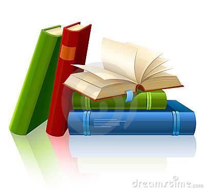 Group of different books with blank pages