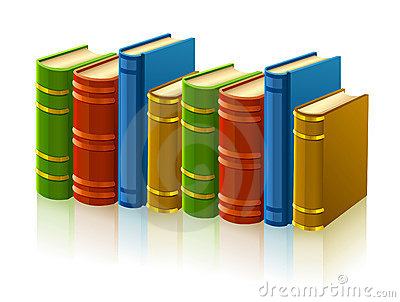 Group of different books with empty cover