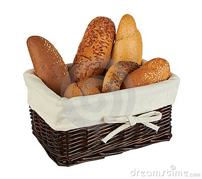 Group of different bread products in basket