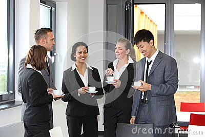 Group of diverse businesspeople on coffee break