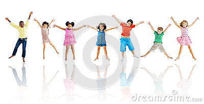 Group of Diverse Children Jumping Stock Photo