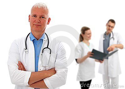 Group of doctors with European doctor