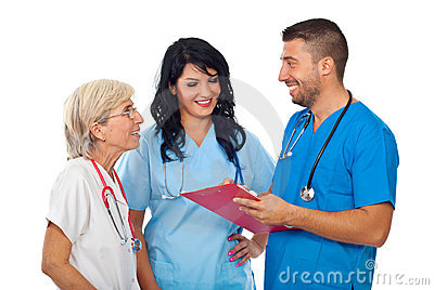 Group of doctors having happy conversation
