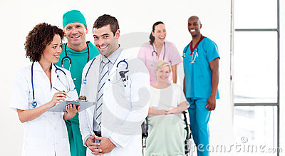 Group of Doctors with patients
