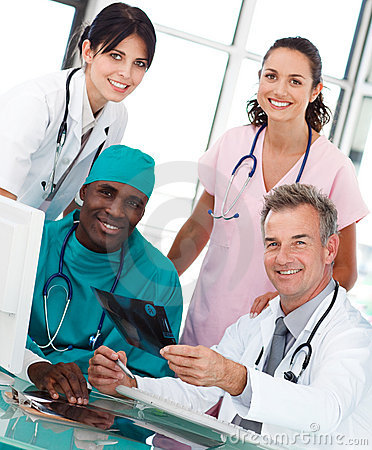 Group of doctors talking in an office