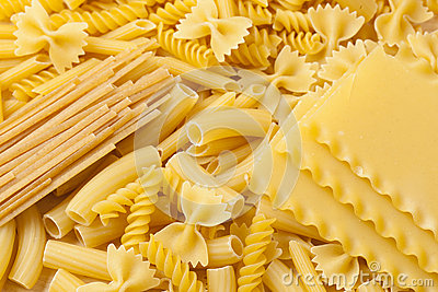 Group of dried Italian Pasta