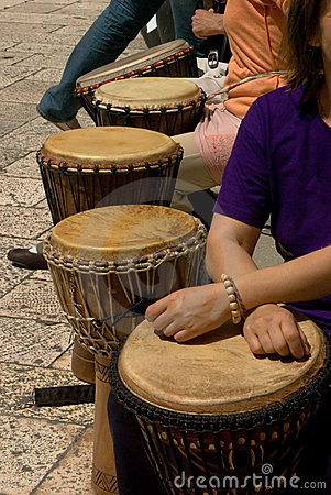 Group of drum musicants during street performance